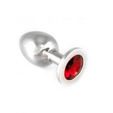 Stor buttplug med rød krystall