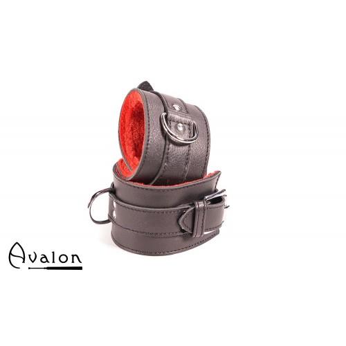 Avalon - INNOCENT - Svarte Håndcuffs med Rød Plysj