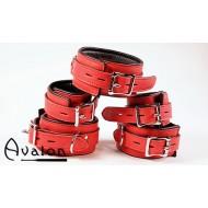 Avalon - Collar og Cuffs, 5 deler, rød