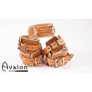 Avalon - Collar og Cuffs, 5 deler, brun og hvit