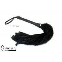 Avalon - Flogger med lær og pels, Sort