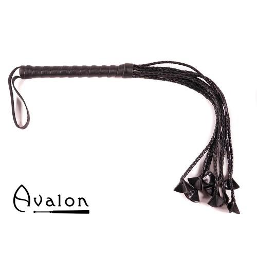 Avalon - GEHERIS - Svart Ni-halet flettet Flogger med Lærstjernetupper