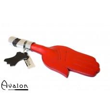 Avalon - SOLOMON - Paddle med håndform og metallhåndtak i sort og sølv - Rød