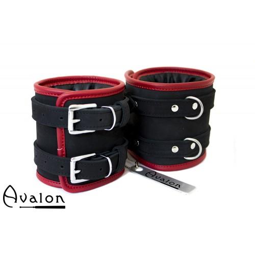 Avalon - CONTROL - Ekstra brede Håndcuffs Svart og Rød