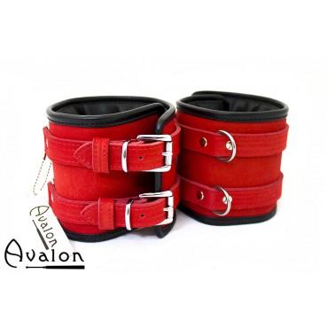 Avalon - CONTROL - Ekstra brede håndcuffs rød og sort