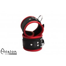 Avalon - STARK - Enkle Håndcuffs i Sort og Rødt Lær