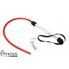Avalon - TAIL - Rød 1-halet Silikonflogger med lær og metall håndtak