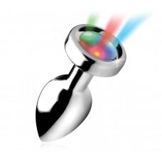 Light up - Medium buttplug i metall med LED lys