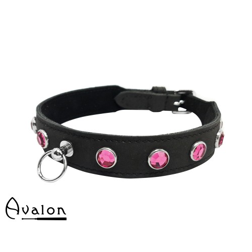 Avalon - DEVOTION - Collar med Rosa runde Stener og O-ring